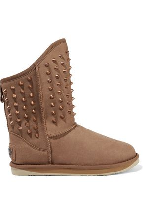 Collective Pistol Studded Brown Australia Shearling Luxe Boots wxRPSaq
