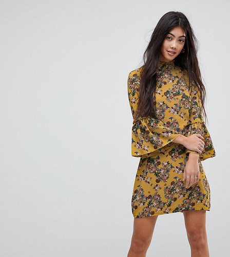 Parisian Petite Parisan High Neck Floral Dress With Flare Sleeve Yellow cevjfC