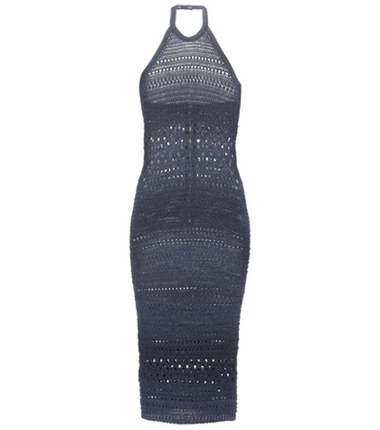 Balmain Knitted Cotton Blend Dress Blue mVIyKM8