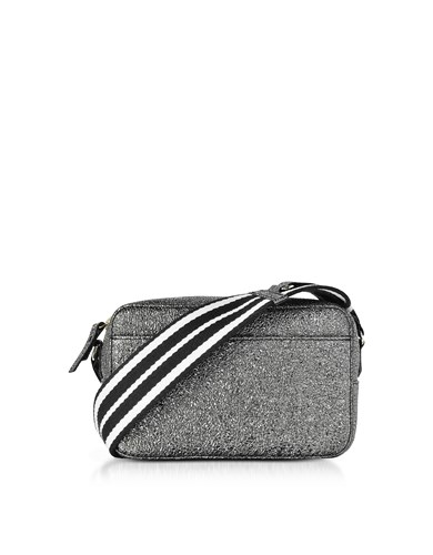 Gunmetal Leather Metallic RED Crossbody Crackled Handbags Striped W Canvas Strap Bag Valentino wOUxUfE