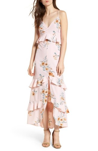 Lush Tiered Maxi Dress Dusty Pink Floral Tceem