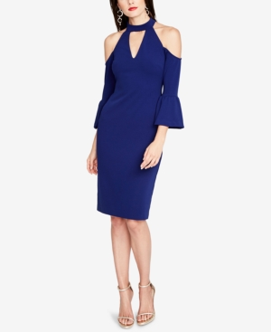 Rachel Shoulder Roy Ruffle Cold Dress Sleeve Viole Blue rSzrWxUn