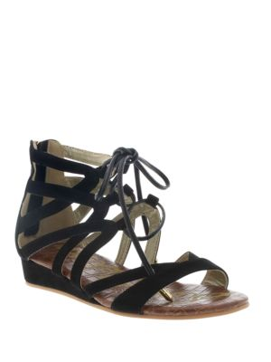 Sam Edelman Danica Faux Suede Lace Up Sandals Black CA8tpEqH