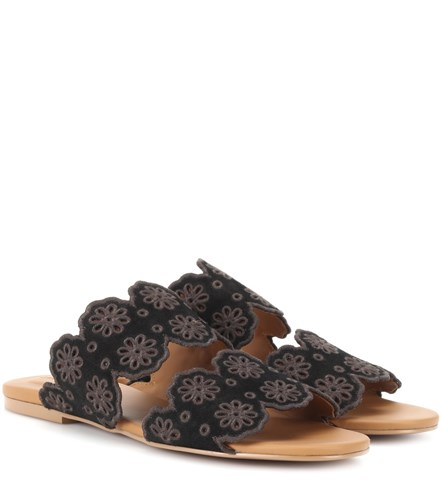 See by Chloe Valentina Embroidered Suede Sandals Black q10V5bChez