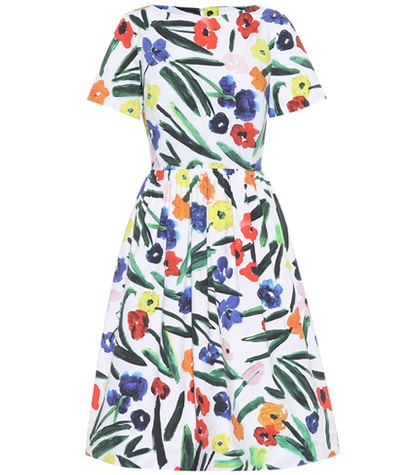 Oscar de la Renta Printed Stretch Cotton Dress Multicoloured 3S2uDi9LVO
