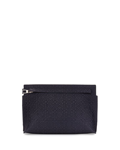 Pouch Medium Loewe Black Leather T Embossed Bag Id0dWTnwzq