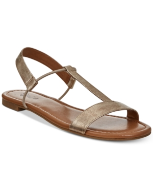 Style&co. Style Co Kristee T Strap Flat Sandals Gold Z1hxm