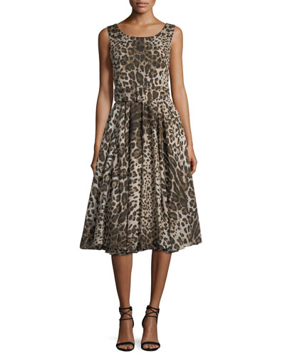 Flare Leopard Sleeveless Print Dress Samantha Fit Sung Aster And qxYEpX