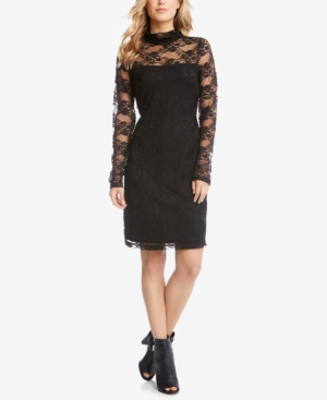 Karen Kane Lace Mock Neck Sheath Dress Black 9PbvM2C5GR
