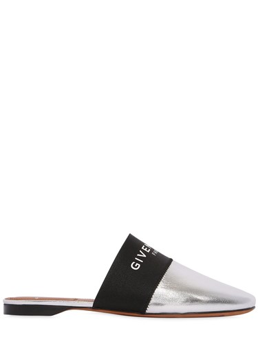 Silver Mules Logo Metallic Leather Bedford 10Mm Givenchy wxqvXCYn