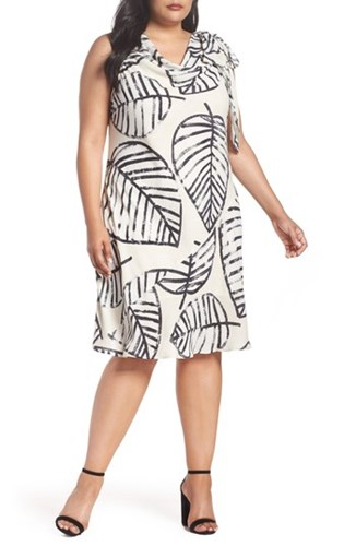 Tie Dress Etched Size Plus Shell Sand Leaves Nic Women's Zoe 6UqPY0OnT7