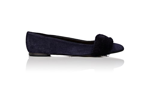 Barneys New York Women's Skimmer Suede And Shearling Flats Navy DQ46Tapavo