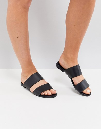Truffle Collection Mule Flat Sandal Black Pu cvz5RRM
