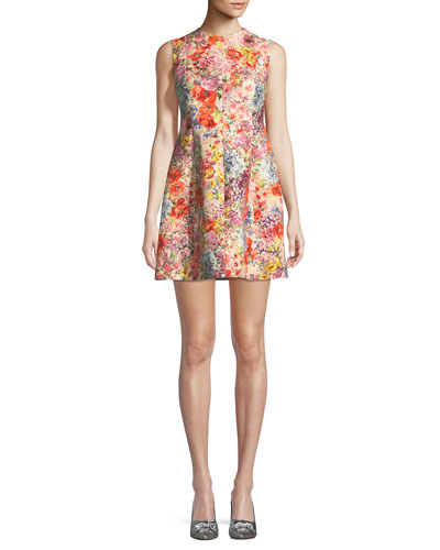 Multi Dress Valentino Crepe Pattern Floral Flare And Sleeveless Print Fit FB4qFfS
