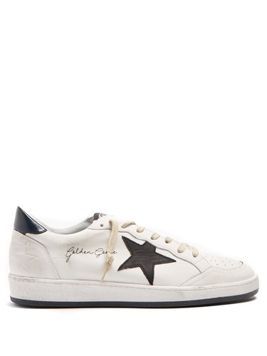 Golden Goose Ball Star Low Top Leather Trainers Navy White CZkAUUZmq