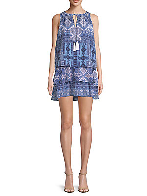 White SIGHT Blue Printed Sleeveless Dress 1ST UXwdRxZw