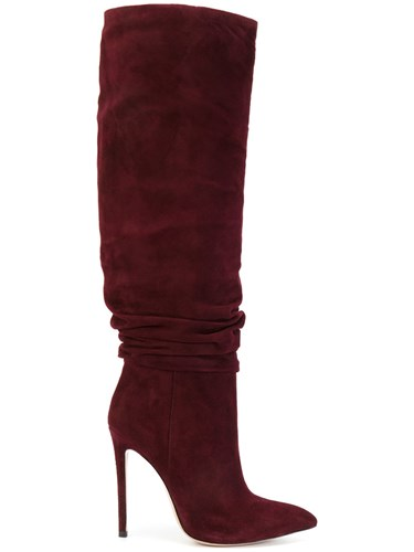 Leather Renzi Suede Calf Boots Red Mid Detail Ruched Gianni T4aYS