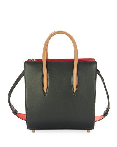 Christian Tote Louboutin Brown Bag Black Spike Paloma Small OIOBxPqr