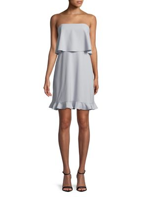 Halston Strapless Flounce Popover Dress Breeze ZjVtDeNW