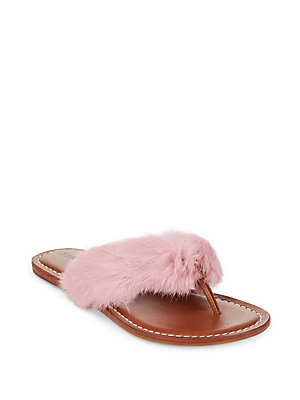 Flip Black Fur Flops Leather Rabbit And Bernardo Rwaq8xIT7