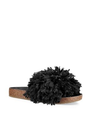 UGG Cindy Fringed Slides Black jFF01x
