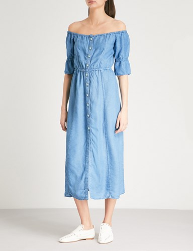 Kooples Blu03 The Midi Style Dress Woven Denim ZddwzqU