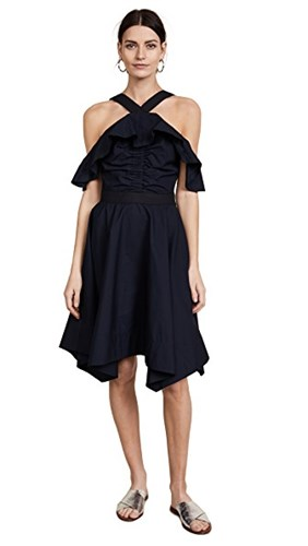 Derek Lam 10 Crosby Off Shoulder Halter Dress Black VuwueX