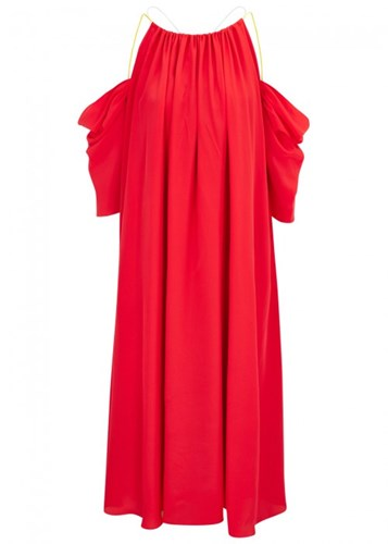 Red Open Shoulder Midi October Dress Silk Anna Blend aUqx4wT6P