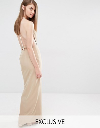 Tan Beige Sleek Maxi With Faux Fame Pearl Back Dress amp; Partners ZzqvnfwH