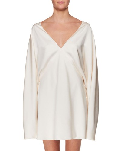 The Row V Neck Long Sleeve Silk Mini Dress Off White OdCQmS4y