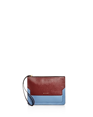 Marni Color Block Leather Clutch Ruby Red Gold dOYLqhF5