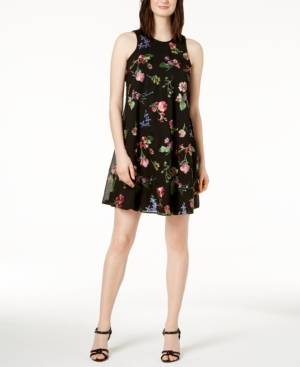 Calvin Klein Embroidered Shift Dress In Regular And Petite Sizes Black Multi 0PPpU