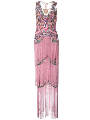 Marchesa Notte Beaded Fringe Evening Gown Pink And Purple o9uS0m
