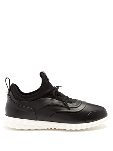 Valentino Low Top Leather And Neoprene Trainers Black Multi b3nEw5rSOb