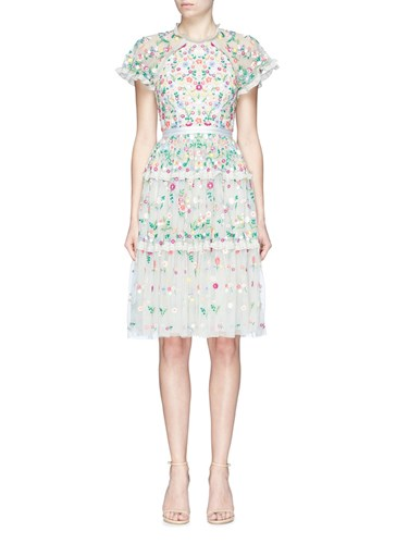 Colour Floral Needle amp; Tulle Ruffle Multi Dress Daisy' Embroidered Thread 'Lazy qaPpRva