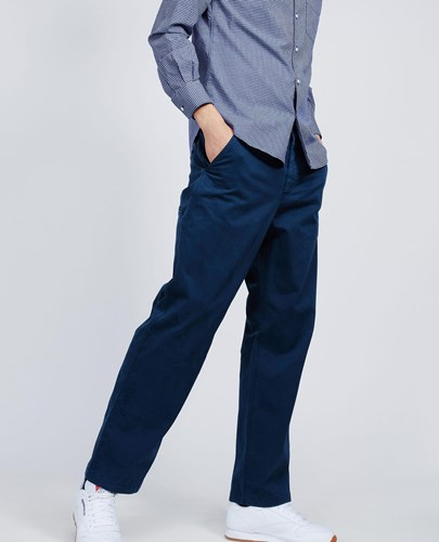 Garment Dyed Cotton Trousers Lavoro Navy Blue