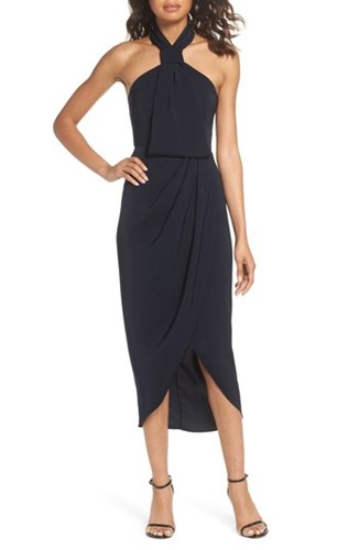 Midi Joy Knotted Shona Hem Tulip Navy Dress wI6wOxTq