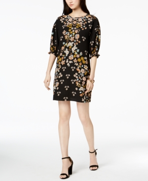 Laundry by Shelli Segal Floral Print Smocked Sleeve Dress Black mBWwD335j