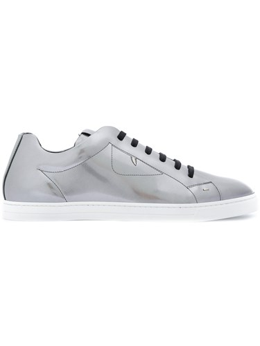Fendi Lace Up Sneakers Leather Rubber Metallic M3DGNmQ