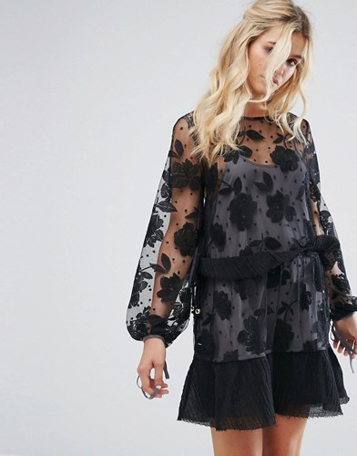 Stevie May Contrast Floral Embroidered Spot Mesh Mini Dress Black Dove qd1zd