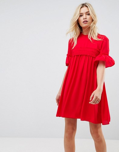 Asos Shirred Asos Shirred Smock Smock Dress Dress Red Asos Red SqFwEHrS