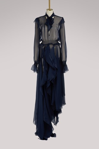 Off-White Silk Pleated Maxi Dress Navy Blue 08JBRqAaZ