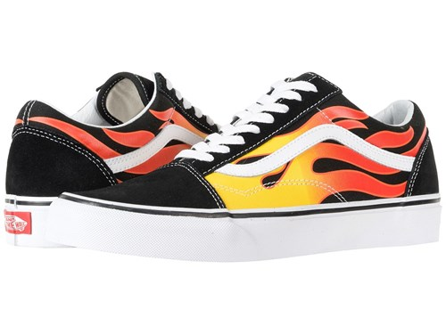 Vans Old Skooltm Flame Black Black True White Skate Shoes L3PU0z