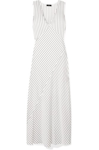 Satin Maxi Striped Ivory Dress Theory 8H1qA