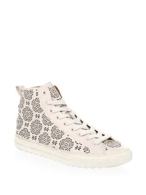 Coach Floral Cut Out Leather Hi Top Sneakers Chalk fYBg6mOQ
