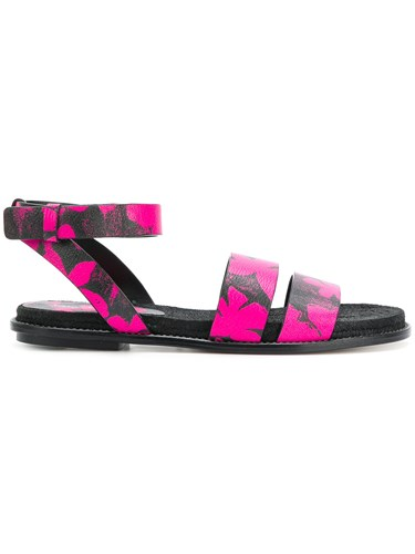 Paul Andrew Floral Spray Paint Sandals Black XitClzS