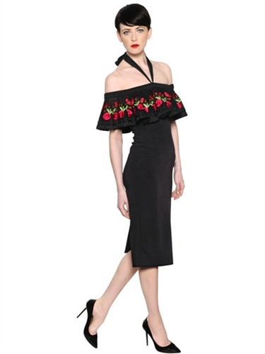 Temperley Fitted Dress Embroidered London Crepe RHzRqY