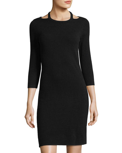 Neiman Marcus Cashmere Cutout Sweater Dress Black azpcRLkID