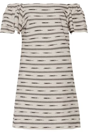 Alice + Olivia Tula Off The Shoulder Embroidered Cotton And Linen Blend Mini Dress White cjs0Xl1