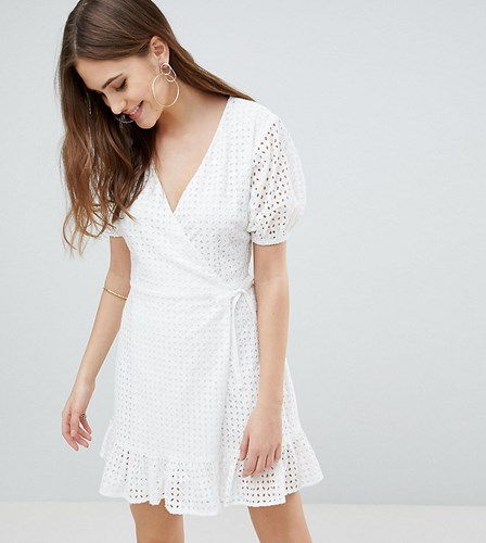 Fashion Union Tall Wrap Dress In Broderie White Broderie kkln1nvlD